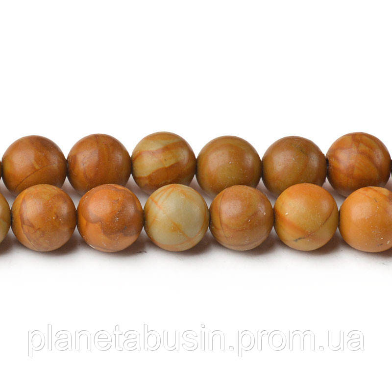 8 мм Древесная Яшма, CN255, Натуральный камень, Форма: Шар, Отверстие: 1мм, кол-во: 47-48 шт/нить