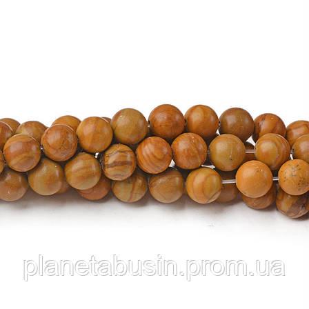 8 мм Древесная Яшма, CN255, Натуральный камень, Форма: Шар, Отверстие: 1мм, кол-во: 47-48 шт/нить, фото 2