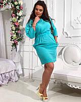 Аккуратное летнее платье, пояс на резинке, батал большие размеры