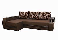 Угловой диван Garnitur.plus Граф темно-коричневый 245 см