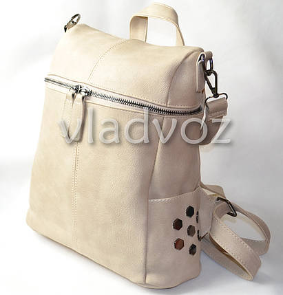 Городской женский молодежный модный стильный рюкзак сумка бежевый, фото 2