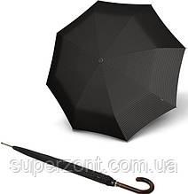 Надежный мужской зонт-трость полуавтомат Knirps Long Cube Black Kn799237041, черный