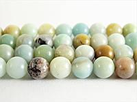 Амазонит, Натуральный камень, бусины 8 мм, Шар, Отверстие 1 мм, количество: 47-48 шт/нить