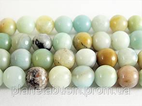 10 мм Амазонит, Натуральный камень, бусины 10 мм, Шар, Отверстие 1,5 мм, количество: 38 шт/нить, фото 2