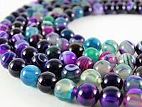 Цветной Глазковый Агат, Натуральный камень, бусины 8 мм, Шар, Отверстие 1 мм, количество: 47-48 шт/нить