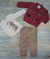 Костюм на девочку (62, 68 см) - 62 см, на 3-6 месяцев, в который входит кофт, футболка, брюки, спортивный кост