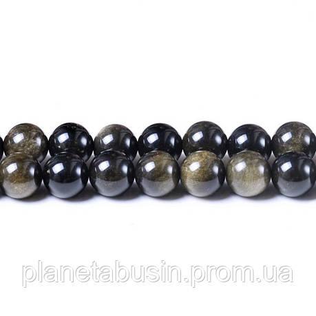 8 мм Золотой Обсидиан, CN260, Натуральный камень, Форма: Шар, Отверстие: 1мм, кол-во: 47-48 шт/нить, фото 2