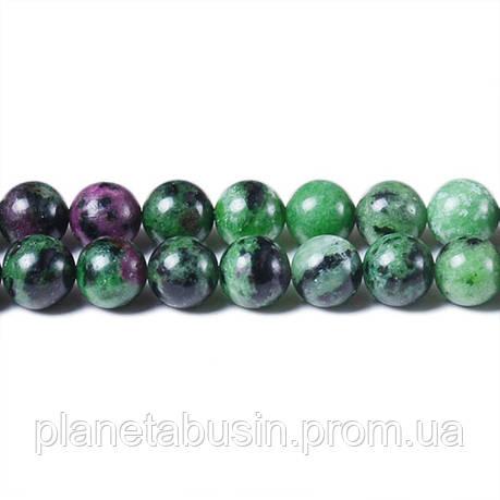8 мм Цоизит, CN261, Натуральный камень, Форма: Шар, Отверстие: 1мм, кол-во: 47-48 шт/нить, фото 2