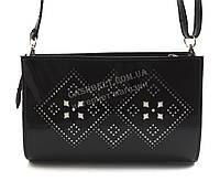 Небольшая стильная женская лакированная овальная сумочка клатч B. Elit art. 005-43 черный