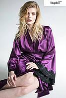 Длинный халат с кружевом  'Vintage Muse negligee'  фиолетоый, XL