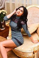 """Облегающее трикотажное мини-платье """"Юленька"""" с контрастными вставками и воротником стойкой"""