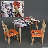 """Столик и два стульчика деревянные """"Зверополис"""" С 073 ***"""