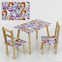 """Столик и два стульчика деревянные """"Принцесса София"""" С 087 ***"""