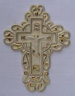 Крест православный узорчатый, керамика, роспись золотом. Керамика опт.