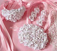"""Свадебный комплект """"Бело-розовые фрезии""""(браслет+серьги+ овальное колье), фото 1"""