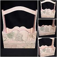 Ящик из фанеры в стиле Прованс, ручная работа,  22х16х28 см., 280/250 (цена за 1 шт. + 30 гр.)