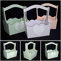 Декоративный ящик из фанеры, салатовый, декупаж, ручная работа, 22х16х28 см., 200/170 (цена за 1 шт. + 30 гр.)