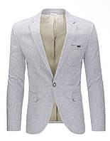Мужской пиджак кажуэл серый M