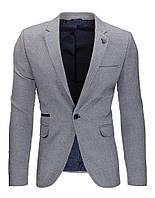 Мужской пиджак кажуэл серый антрацитовый   XL