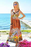 """Длинное атласное платье-сарафан на бретельках """"Сафари"""" с цветочным узором (2 цвета)"""