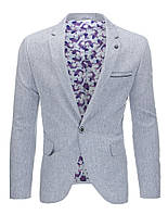 Мужской пиджак кажуэл серый  S