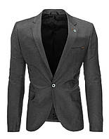Мужской пиджак кажуэл серый антрацитовый   S