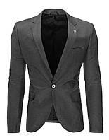 Мужской пиджак кажуэл серый антрацитовый  M