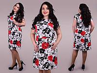 Легкое принтованное платье в больших размерах p-ta47151364