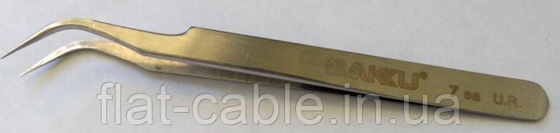 Пинцет Baku A8 series 7 sa U.R (стальной, изогнутый)
