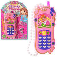Телефон HT88011  13,5см, муз, зв, свет, шнурок-бусины, на батарейках(таб), на листе, 13,5-21-2см