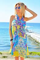 """Короткое шифоновое платье-сарафан через шею """"Camomilla"""" с цветочным принтом (3 цвета)"""