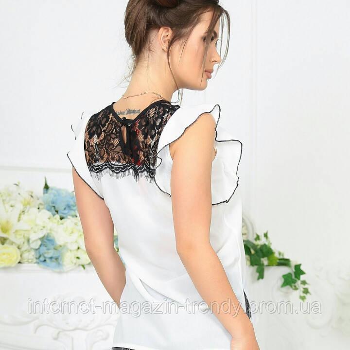 Нежная кружевная блуза без рукавов,цвет черно-белый 4061