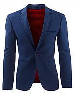 Элегантный мужской однобортный  пиджак абсолютный бестселлер сезона  темно-синий  S