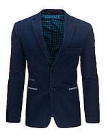 Элегантный мужской  однобортный пиджак с застежкой на две пуговицы  синий S