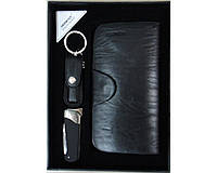 Подарочный набор зажигалка-нож/брелок-кусачки/портмоне №3050