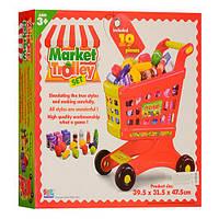Тележка 16671B  супермаркет, 39,5-31,5-47,5см, продукты,19 деталей