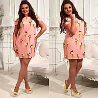 Красивое стильное платье трапеция с рисунком мороженое, батал большие размеры