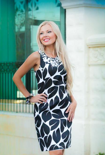Платье со стразами «Чёрно-белые листья»