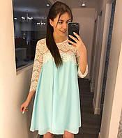 Мятное летнее платье с кружевом