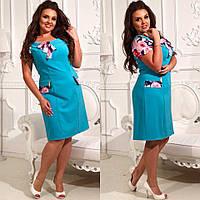 Нарядное стильное платье трапеция с шифоновыми рукавчиками, батал большие размеры