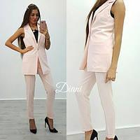 Костюм (жилет на атласной подкладке + брюки с карманами). Ткань - креп костюмка. Размер С и М. (21301) 44, розовый