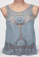 Майка летняя женская с вязанными вставками, серо-голубая, фото 1