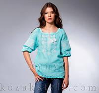 Лляна вишиванка 3 4 рукав джинсового кольору (біла вишивка) 21d9157479da6