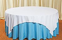 Скатерть круглая с напероном (голубая)