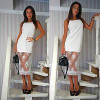 Платье. Ткань - креп костюмка + дорогое кружево.Размер С и М. (21309)