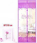 Антимоскитные сетки (фиолетовый цвет c рисунком) на двери на магнитах. 90*210см