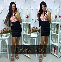 Офисное платье (верх розовый)