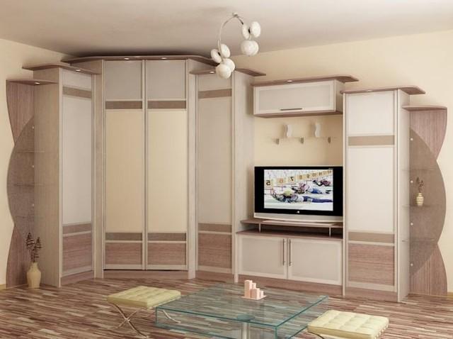 шкафы купе в гостиную угловые фото