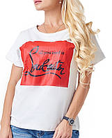 Женская футболка с надписью (Louboutin br) белый