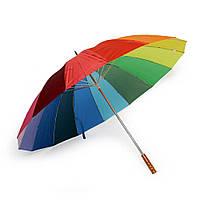 Зонт трость под нанесение логотипа Радуга, опт от 10 шт (розница, механика, ручка дерево, полиэстер)